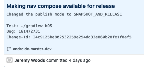 GitHub screenshot of Jetpack Compose Navigation available for release commit